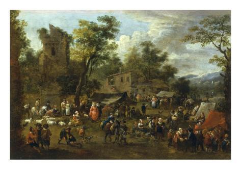 A Village Market Scene Stretched Canvas Print