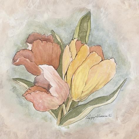 Victorian Panel-Tulips Stretched Canvas Print
