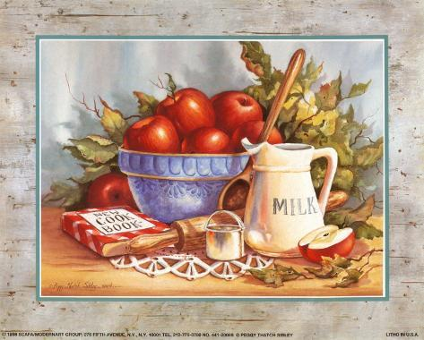Cookbook and Apples Art Print