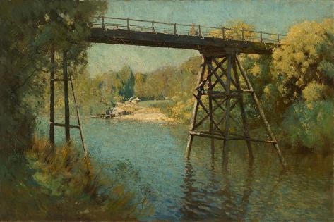 Bridge and Wattle at Warrandyte, 1914 Giclee Print