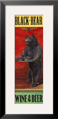 Black Bear Wine and Beer Framed Giclee Print