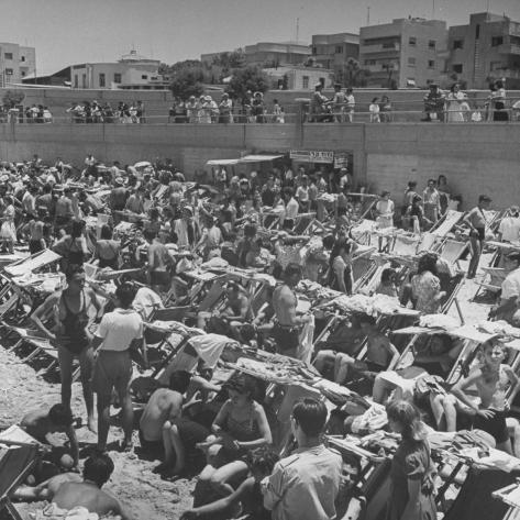 People Crowding the Tel Aviv Beach on a Saturday Morning Photographic Print