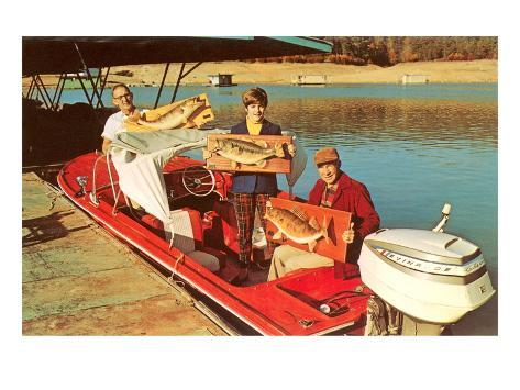 People in Motor Boat Holding Plaques with Fish Art Print