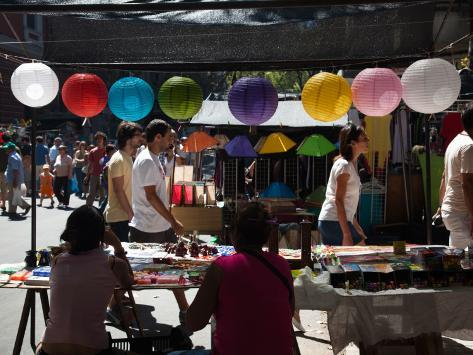People Shopping in a Street Market, Feria De Tristan Narvaja, Tristan Narvaja, Montevideo, Uruguay Photographic Print