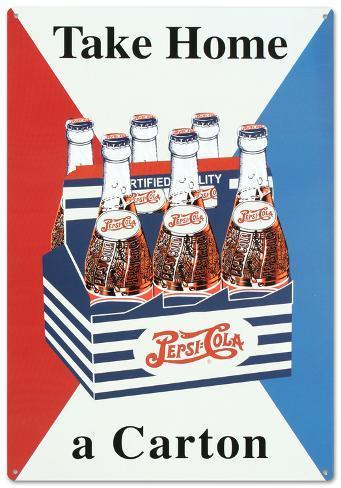 Pepsi Take Home a Carton Tin Sign Tin Sign