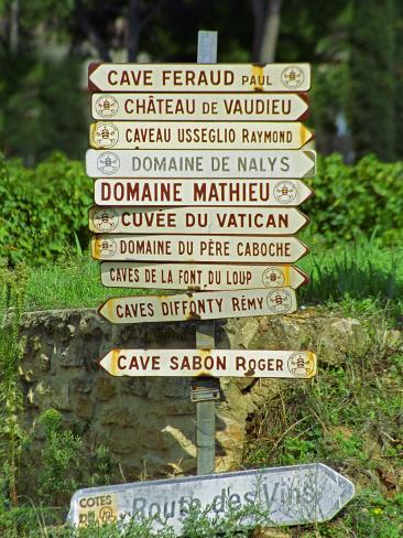 Road Signs to Wine Producers in Chateauneuf-Du-Pape, Provence, France Photographic Print