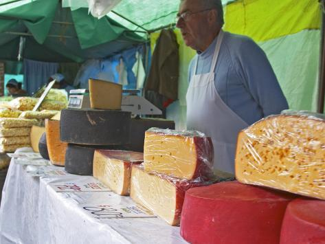 Street Market Stall Selling Cheese, Montevideo, Uruguay Photographic Print