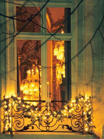 Wrought Iron Railing with Christmas Decorations, Baccarat Museum Shop and Restaurant Photographic Print