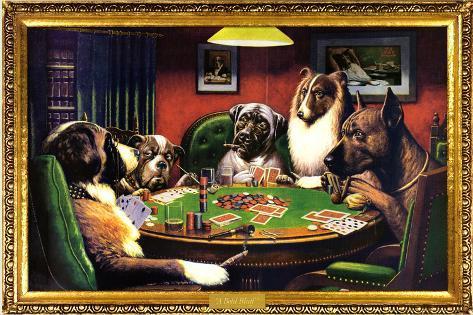 Perros jugando al póquer Póster