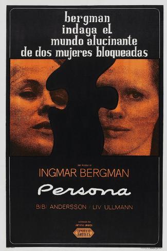 Persona, Argentinan poster, Bibi Andersson, Liv Ullmann, 1966 Art Print