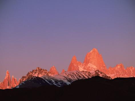 Fitzroy Massif Peak at Sunset, Andes, Patagonia, Argentina, South America Photographic Print