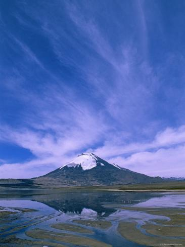 Lake Chungara, Highest Lake in the World (4,500M), Parinacota Volcano, Lauca National Park, Chile Photographic Print