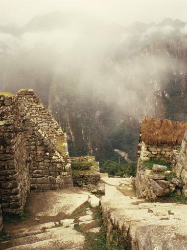 Looking Down Ancient Remains of Machu Picchu, Peru Photographic Print