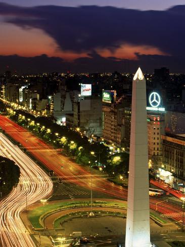 Avenida 9 De Julio, Buenos Aires, Argentina, Obelisko Photographic Print
