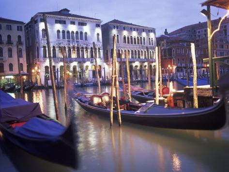 Gondolas at Night, Venice, Italy Photographic Print