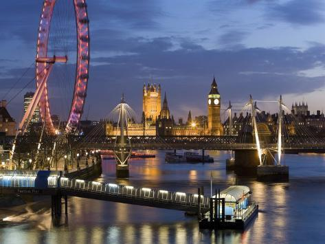 Millennium Wheel and Houses of Parliament, London, England Photographic Print