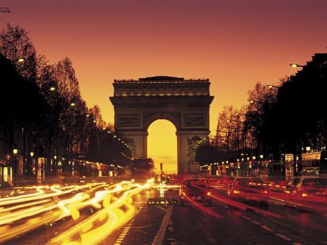 paris france arc de triomphe at night photographic print by peter