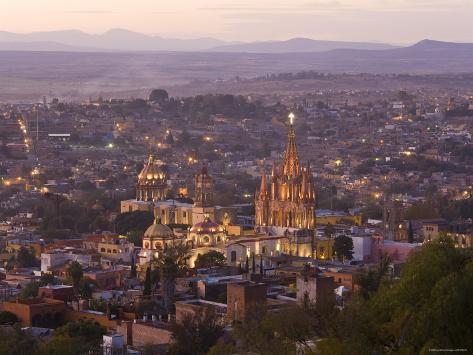 San Miguel de Allende and La Parroquia Church, Guanajuato State, Mexico Photographic Print