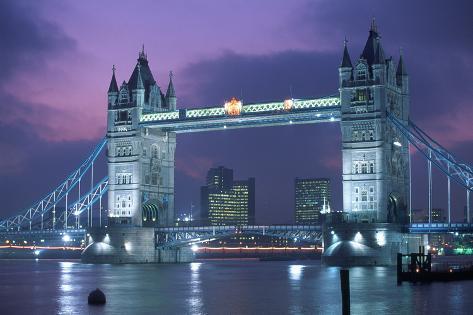 Tower Bridge at Night, London, UK Mural