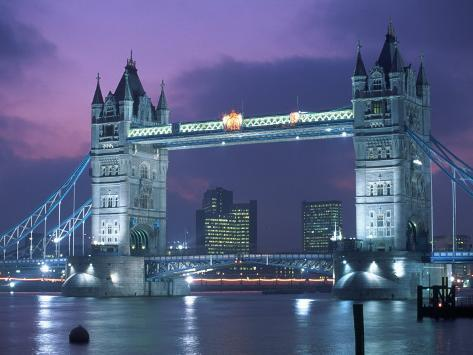 Tower Bridge at Night, London, UK Photographic Print