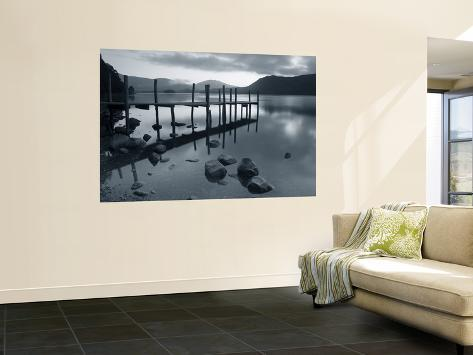 Tranquil Landscape and Pier, Derwent Water, Lake District, Cumbria, England Wall Mural