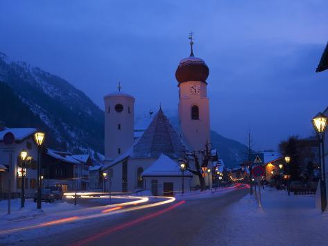 Church in Winter Snow at Dusk, St. Anton Am Arlberg, Austrian Alps, Austria, Europe Photographic Print