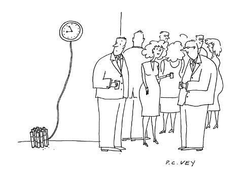 man at a cocktail party looks to see that there is dynamite connected to a… - Cartoon Premium Giclee Print