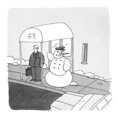 snowman-doorman hails a taxi for a man - Cartoon Premium Giclee Print