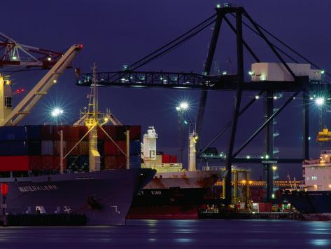 Container Ships, Melbourne Docks, Melbourne, Australia Photographic Print