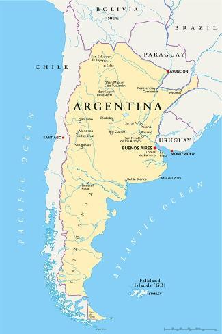 Argentina Political Map Art Print