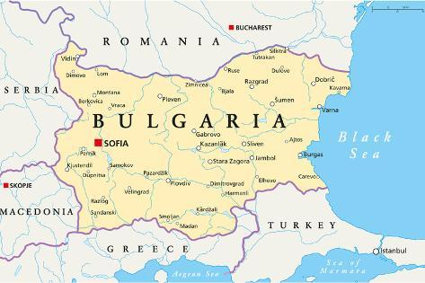 Bulgaria Political Map Art Print