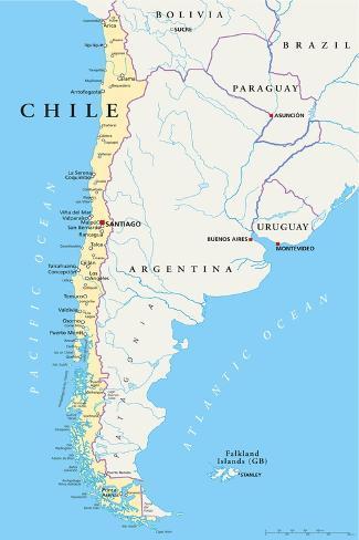 Chile Political Map Art Print