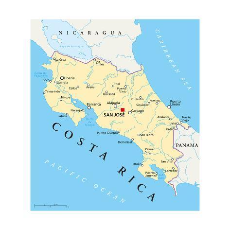 Costa Rica Political Map Art Print