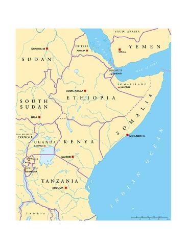 East Africa Political Map Art Print