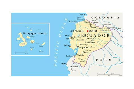 Ecuador and Galapagos Islands Political Map Print by Peter Hermes
