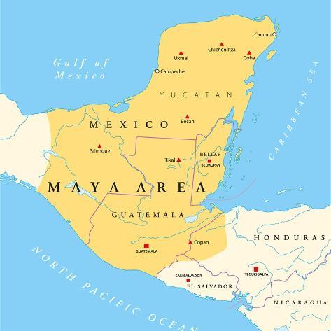 Maya High Culture Area Map Art Print