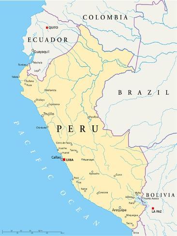 Peru Political Map Art Print