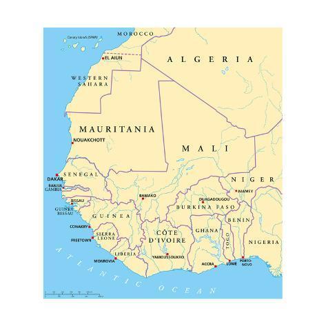 West Africa Political Map Art Print