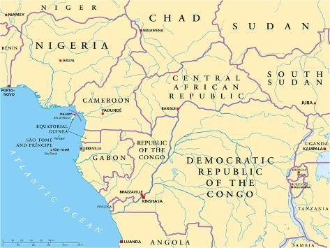 West Central Africa Political Map Art Print