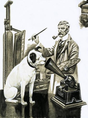Artist Painting the Dog Listening at a Gramaphone Giclee Print