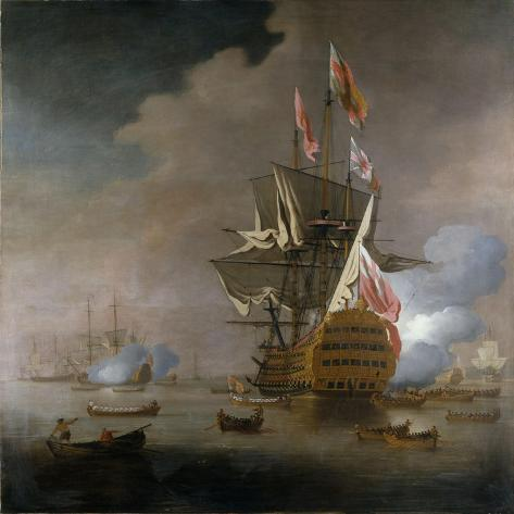 A Royal Party approaching a Flagship of the Red with Numerous Other Craft at Sea Lámina giclée