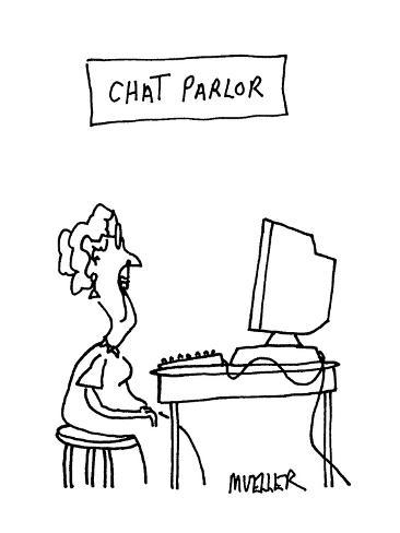 Chat Parlor - Cartoon Premium Giclee Print