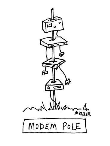 Modem Pole - Cartoon Premium Giclee Print