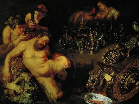 And Jan Brueghel the Younger (1601-1678): Drunken Silenus, circa 1611-12 Giclee Print