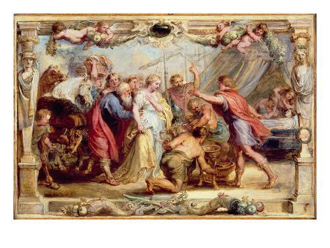 Briseis Given Back to Achilles, 1630/1631 (Oil on Panel) Stampa giclée