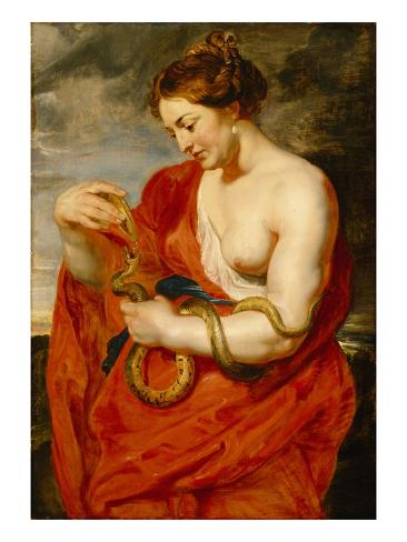 Hygeia, Goddess of Health, C.1615 (Oil on Oak Panel) Stampa giclée