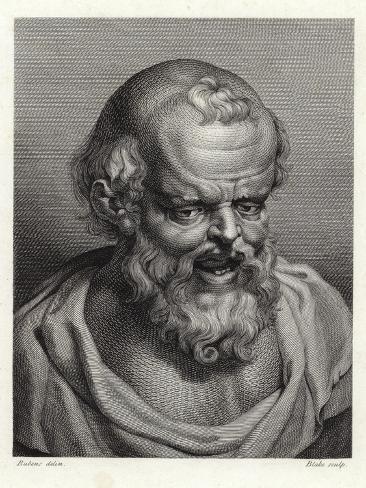 Portrait of Ancient Greek Philosopher Democritus Lámina giclée