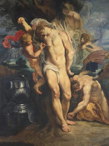 Saint Sebastian Tended by Angels, 1601-02 Lámina giclée
