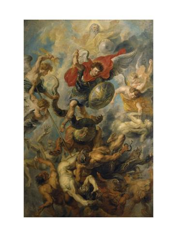 War in Heaven. Archangel Michael in the Fight Against Schismatic Angels Giclee Print