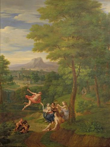 Classical Landscape with Mercury Overseeing the Birth of Bacchus Giclee Print